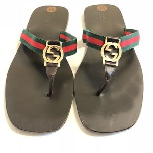 0db93bc84c6e Gucci Shoes - GUCCI Sandals Flip Flops Brown Leather Logo Gold